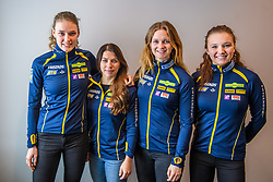 March 15, 2019 - –Stersund, Sweden - 190315 Hanna Öberg, Anna Magnusson, Mona Brorsson and Linn Persson of Sweden that will compete at the  Women's 4x6 km Relay Competition pose for a picture at a press conference with the Swedish Biathlon team during the IBU World Championships Biathlon on March 15, 2019 in Östersund..Photo: Petter Arvidson / BILDBYRÃ…N / kod PA / 92267 (Credit Image: © Petter Arvidson/Bildbyran via ZUMA Press)