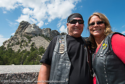 David and Lea Hancock of Dade City, FL at Mt Rushmore National Monument during the 75th Annual Sturgis Black Hills Motorcycle Rally.  SD, USA.  August 8, 2015.  Photography ©2015 Michael Lichter.