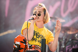 © Licensed to London News Pictures. 27/08/2017. Reading Festival 2017, Reading, UK. Fickle Friends perform on the NME/Radio 1 Stage. Lead singer Natassja Shiner. Photo credit: Andy Sturmey/LNP