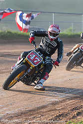 Hooligan flattracker (no. 47) Jordan Graham in his Indian racer  in the Spirit of Sturgis races at the fairgrounds during the Sturgis Black Hills Motorcycle Rally. Sturgis, SD, USA. Monday, August 5, 2019. Photography ©2019 Michael Lichter.