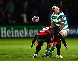 Newcastle Falcons' Josh Matavesi is tackled by Dragons' Gavin Henson<br /> <br /> Photographer Craig Thomas/Replay Images<br /> <br /> EPCR Champions Cup Round 3 - Newport Gwent Dragons v Newcastle Falcons - Saturday 15th December 2017 - Rodney Parade - Newport<br /> <br /> World Copyright © 2017 Replay Images. All rights reserved. info@replayimages.co.uk - www.replayimages.co.uk