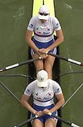 Seville, Andalusia, SPAIN<br /> <br /> 2002 World Rowing Championships - Seville - Spain Sunday 15/09/2002.<br /> <br /> Rio Guadalquiver Rowing course<br /> <br /> GBR W2X Debbie Flood stroke and Frances Houghton<br /> <br /> [Mandatory Credit:Peter SPURRIER/Intersport Images]
