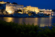 India, Rajasthan, Udaipur The city palace complex at night
