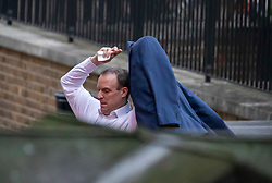 © Licensed to London News Pictures. 06/01/2020. London, UK. Foreign Secretary Dominic Raab arrives at the back of Downing Street as tensions continue between Iran and the US over the killing of Military leader Qassem Soleimani in Iraq. Photo credit: Alex Lentati/LNP
