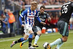 (L-R) Martin Odegaard of sc Heerenveen, Amin Younes of Ajax, Nick Viergever of Ajax during the Dutch Eredivisie match between sc Heerenveen and Ajax Amsterdam at Abe Lenstra Stadium on October 01, 2017 in Heerenveen, The Netherlands