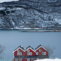 Three red houses huddle together on cold wintry day in the village of Evenskjer, a village in the municipality of Skånland.