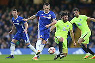 John Terry, the Chelsea captain taking a shot at goal. The Emirates FA cup, 3rd round match, Chelsea v Peterborough Utd at Stamford Bridge in London on Sunday 8th January 2017.<br /> pic by John Patrick Fletcher, Andrew Orchard sports photography.