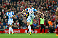 Jonathan Hogg of Huddersfield Town in action.<br /> Premier League match, Liverpool v Huddersfield Town at the Anfield stadium in Liverpool, Merseyside on Saturday 28th October 2017.<br /> pic by Chris Stading, Andrew Orchard sports photography.