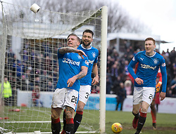 Rangers Jason Cummings celebrates scoring his side's second goal of the game during the William Hill Scottish Cup, fifth round match at Somerset Park, Ayr.