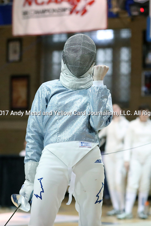 12 February 2017: Duke's Lindsay Sapienza reacts during Saber. The Duke University Blue Devils hosted the Boston College Eagles at Card Gym in Durham, North Carolina in a 2017 College Women's Fencing match. Duke won the dual match 19-8 overall, 6-3 Foil, 5-4 Epee, and 8-1 Saber.