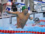 South Africa's Chad le Clos reacts after winning a Gold Medal in the Men's 200M Butterfly Final at the London 2012 Summer Olympics on July 31, 2012 in Stratford, London. le Clos won Gold with a time of 1:52.96 in the event.  (UPI)