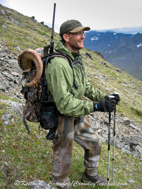 Keith Crowley packing out his Dall ram in Alaska.
