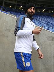 Leicester City's Riyad Mahrez arrives