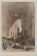 Egypt and Nubia, Volume III: Bazaar of the Silk Mercers, Cairo, 1848. Louis Haghe (British, 1806-1885), F.G.Moon, 20 Threadneedle Street, London, after David Roberts (British, 1796-1864). Color lithograph