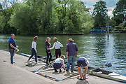 Maidenhead. Berkshire. United Kingdom. General View. Henley RC Women's Junior crew prepare to boat and compete at 2017 Maidenhead Junior Regatta  River Thames. <br /> Sunday  14/05/2017<br /> <br /> [Mandatory Credit Peter SPURRIER/Intersport Images] Sunday. 14.05.2017