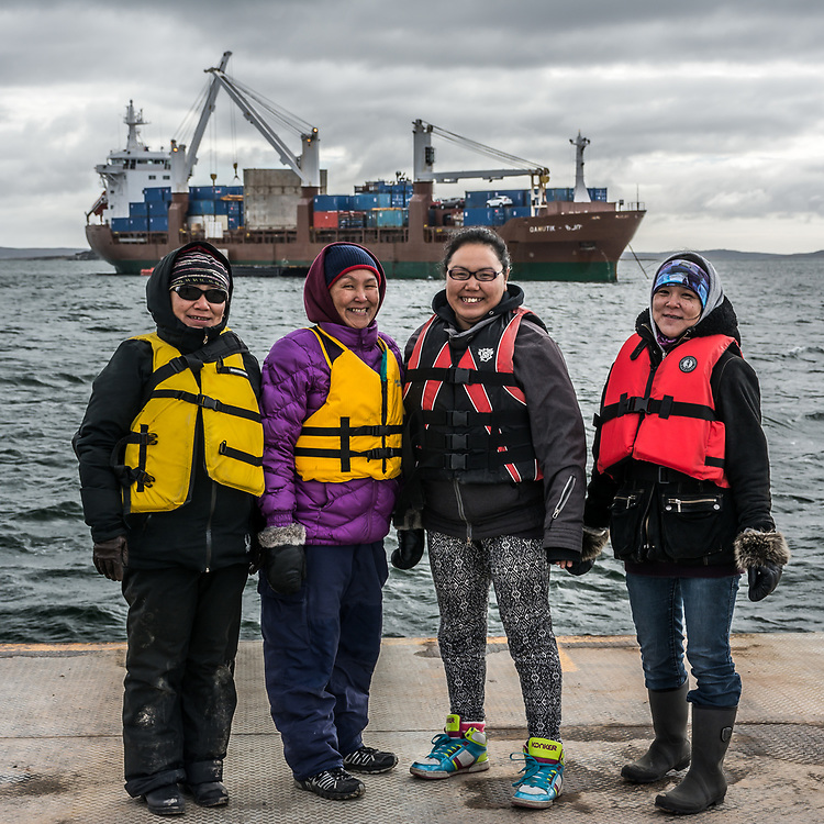 The Cooking Class team going to visit the kitchen on cargo boat, the Avataq.