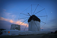 A windmill at dusk, Mykonos, Greece