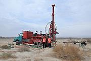 Israel, Dead Sea a drilling crew perform an investigative drill