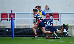 James Newey of Bristol Rugby crashes over the line to score - Mandatory by-line: Paul Knight/JMP - 22/10/2017 - RUGBY - Ashton Gate Stadium - Bristol, England - Bristol Rugby v Doncaster Knights - B&I Cup
