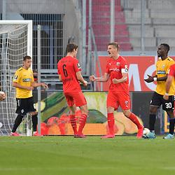 Spiel am 35 Spieltag in der Saison 2019-2020 in der 3. Bundesliga zwischen dem FC Ingolstadt 04 und dem SV Waldhof Mannheim am 24.06.2020 in Ingolstadt. <br /> <br /> Stefan Kutschke (Nr.30, FC Ingolstadt 04) jubelt nach seinem Treffer zum 1:0<br /> <br /> Foto © PIX-Sportfotos *** Foto ist honorarpflichtig! *** Auf Anfrage in hoeherer Qualitaet/Aufloesung. Belegexemplar erbeten. Veroeffentlichung ausschliesslich fuer journalistisch-publizistische Zwecke. For editorial use only. DFL regulations prohibit any use of photographs as image sequences and/or quasi-video.