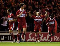 Fotball<br /> UEFA Cup 2004/2005<br /> Foto: SBI/Digitalsport<br /> NORWAY ONLY<br /> 04.11.2004<br /> <br /> Middlesbrough v Lazio<br /> <br /> Middlesbrough's Boudewijn Zenden celebrates his goal.