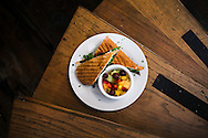 August 25, 2014 - The Portobello Mushroom sandwich at Cafe Keough features goat cheese, peppers, black olive pesto, basil, and a side of fruit. The French-style cafe and bar is located at 12 S. Main St. (Yalonda M. James/The Commercial Appeal)