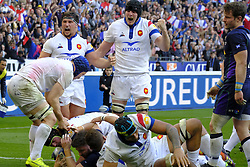 February 23, 2019 - Saint Denis, Seine Saint Denis, France - Joy of French Team after his fourth try scored by GREGORY ALLDRITT during the Guinness Six Nations Rugby tournament between France and Scotland at the Stade de France - St Denis - France..France won 27-10 (Credit Image: © Pierre Stevenin/ZUMA Wire)