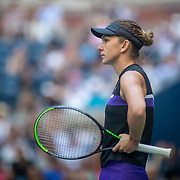 2019 US Open Tennis Tournament- Day Four.  Simona Halep of Romania reacts during her loss to Taylor Townsend of the United States in the Women's Singles Round Two match on Arthur Ashe Stadium at the 2019 US Open Tennis Tournament at the USTA Billie Jean King National Tennis Center on August 29th, 2019 in Flushing, Queens, New York City.  (Photo by Tim Clayton/Corbis via Getty Images)