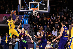 November 1, 2018 - Barcelona, Barcelona, Spain - Scottie Wilbekin, #1 of Maccabi Fox Tel Aviv in actions during EuroLeague match between FC Barcelona Lassa and Maccabi Fox Tel Aviv  on November 01, 2018 at Palau Blaugrana, in Barcelona, Spain. (Credit Image: © AFP7 via ZUMA Wire)