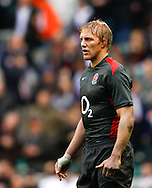 Lewis Moody looks on during the Investec series international between England and Australia at Twickenham, London, on Saturday 13th November 2010. (Photo by Andrew Tobin/SLIK images)