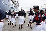 Fiji, Viti Levu, Suva the Police marching Band in the harbour