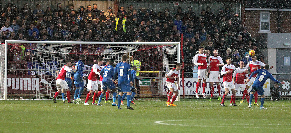 Oldham Athletic's Mike Jones (No.8) scores his sides second goal from a free kick<br /> <br /> Photographer Rich Linley/CameraSport<br /> <br /> Football - The Football League Sky Bet League One - Fleetwood Town v Oldham Athletic - Saturday 17th January 2015 - Highbury Stadium - Fleetwood<br /> <br /> © CameraSport - 43 Linden Ave. Countesthorpe. Leicester. England. LE8 5PG - Tel: +44 (0) 116 277 4147 - admin@camerasport.com - www.camerasport.com