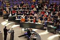 19 DEC 2003, BERLIN/GERMANY:<br /> Gerhard Schroeder, SPD, Bundeskanzler, waehrend seiner Rede, im Hintergrund die SPD Bundestagsfraktion, Sondersitzung des Bundestages zur Abstimmung ueber das Reformpaket zu Steuern und Arbeitsmarkt, Plenum, Deutscher Bundestag<br /> IMAGE: 20031219-01-037<br /> KEYWORDS: Gerhard Schröder, Speech, Uebersicht, Übersicht, SPD Fraktion