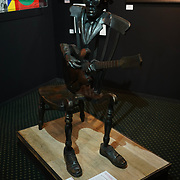 Chelsea Old Town Hall.London,England,UK. 26th April 2017. John Lee Hooker / Rocking Chair Blues by Artist Guy Portelli exhibition  at Chelsea Art Fair - press & photocall of King's Road Revolution Where Art meets Music at Chelsea Old Town Hall. by See Li