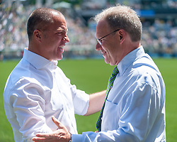 May 13, 2018 - Portland, OR, U.S. - PORTLAND, OR - MAY 13: Head coach Giovanni Savarese (Timbers) and Brian Schmetzer (Sounders) amicably greet moments before the Portland Timbers  1-0 victory over the Seattle Sounders on May 13, 2018, at Providence Park in Portland, OR. (Photo by Diego Diaz/Icon Sportswire) (Credit Image: © Diego Diaz/Icon SMI via ZUMA Press)