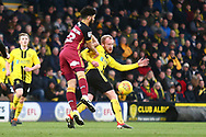 Burton Albion forward Liam Boyce (27) and Bradford City defender Nat Knight-Percival (22) during the EFL Sky Bet League 1 match between Burton Albion and Bradford City at the Pirelli Stadium, Burton upon Trent, England on 26 January 2019.