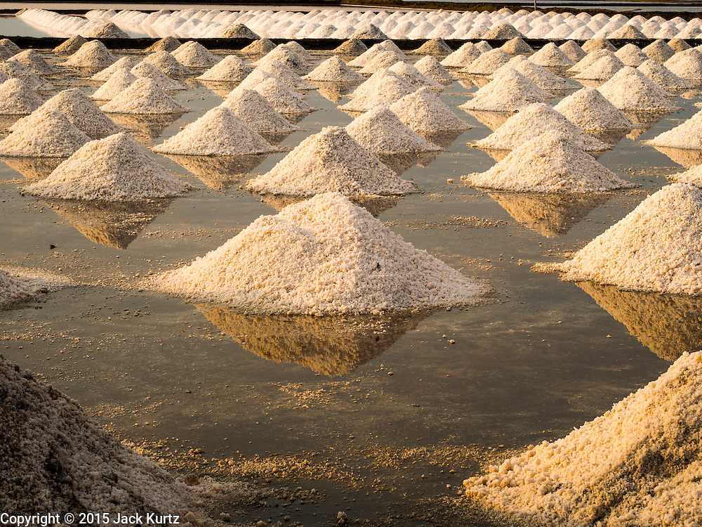 09 MARCH 2015 - NA KHOK, SAMUT SAKHON, THAILAND: Salt raked into mounds on a salt farm in Samut Sakhon. The coastal provinces of Samut Sakhon and Samut Songkhram, about 60 miles from Bangkok, are the center of Thailand's sea salt industry. Salt farmers harvest salt from the waters of the Gulf of Siam by flooding fields and then letting them dry through evaporation, leaving a crust of salt behind. Salt is harvested through dry season, usually February to April. The 2014 salt harvest went well into May because the dry season lasted longer than normal. Last year's harvest resulted in a surplus of salt, driving prices down. Some warehouses are still storing salt from last year. It's been very dry so far this year and the 2015 harvest is running ahead of last year's bumper crop. One salt farmer said prices are down about 15 percent from last year.    PHOTO BY JACK KURTZ
