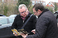 AFC Wimbledon manager Wally Downes chatting with fan during the EFL Sky Bet League 1 match between AFC Wimbledon and Barnsley at the Cherry Red Records Stadium, Kingston, England on 19 January 2019.