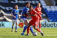 Nottingham Forest's Carlos Ribeiro Dias (18) under pressure from Cardiff City's Marlon Pack (21) during the EFL Sky Bet Championship match between Cardiff City and Nottingham Forest at the Cardiff City Stadium, Cardiff, Wales on 2 April 2021.