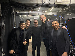 """Russell Crowe releases a photo on Twitter with the following caption: """"""""Just played show #218 of the Jacky Cheung """"Classic Tour"""" in Kaohsiung, Taiwan. Now for a 15 show run in Hong Kong to finish!"""""""". Photo Credit: Twitter *** No USA Distribution *** For Editorial Use Only *** Not to be Published in Books or Photo Books ***  Please note: Fees charged by the agency are for the agency's services only, and do not, nor are they intended to, convey to the user any ownership of Copyright or License in the material. The agency does not claim any ownership including but not limited to Copyright or License in the attached material. By publishing this material you expressly agree to indemnify and to hold the agency and its directors, shareholders and employees harmless from any loss, claims, damages, demands, expenses (including legal fees), or any causes of action or allegation against the agency arising out of or connected in any way with publication of the material."""