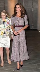 Catherine, Duchess of Cambridge, wearing a checkered Erdem dress, attends the opening of the V&A Photography Centre at the Victoria and Albert Museum in London