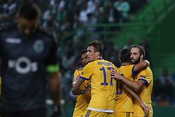October 31, 2017 - Lisbon, Lisbon, Portugal - Juventus forward Gonzalo Higuain from Argentina (R) celebrating with is team mate after scoring a goal during the match between Sporting CP v Juventus FC UEFA Champions League playoff match at Estadio Jose Alvalade on October 31, 2017 in Lisbon, Portugal. (Credit Image: © Dpi/NurPhoto via ZUMA Press)