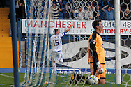 Bury's Ryan Lowe celebrates scoring his sides second goal. Skybet football league two match, Bury v Burton Albion at the JD Stadium, Gigg Lane in Bury, Lancs on Saturday 20th Sept 2014.<br /> pic by David Richards,  Andrew Orchard sports photography.