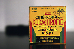 © Licensed to London News Pictures. 19/01/2012, London, UK. A Kodak Cine film box photographed using Kodachrome film made by kodak. Kodak has filed for bankruptcy in a bid to survive a liquidity crisis after years of falling sales related to the decline of its namesake film business as digital cameras have taken over the market..  Photo credit : Patrick O'brien/LNP
