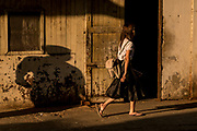 Woman and shadow, Yangon Central Railway Station, Yangon, Rangoon, Myanmar