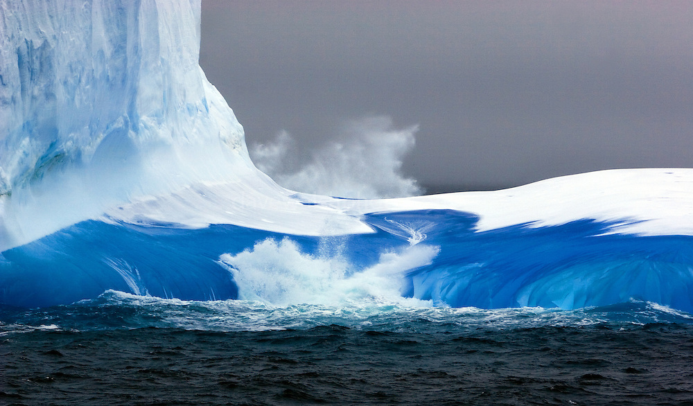 Telephoto shot of blue iceberg, Southern Ocean, 10th February 2007. Seen from the Greenpeace ship Esperanza, during expedition to find Japanese whaling fleet...