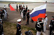 Representatives of all U.S. military branches prepare the tarmac at Denver International Airport for the arrival of Russian President Boris Yeltsin to the Summit of the Eight.