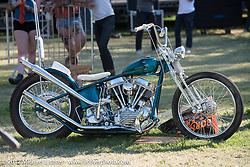 Todd Asin's Small City Cycles 1951 Harley-Davidson Panhead at the Born Free 9 Motorcycle Show at Oak Creek Park. Silverado, CA. USA. Sunday June 25, 2017. Photography ©2017 Michael Lichter.