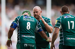 Ben Franks of London Irish congratulates team-mate Ofisa Treviranus on his second half try - Mandatory byline: Patrick Khachfe/JMP - 07966 386802 - 02/09/2017 - RUGBY UNION - Twickenham Stadium - London, England - London Irish v Harlequins - Aviva Premiership