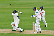 Rilee Rossouw of Hampshire attacks the bowling of Simon Harmer of Essex during the first day of the Specsavers County Champ Div 1 match between Hampshire County Cricket Club and Essex County Cricket Club at the Ageas Bowl, Southampton, United Kingdom on 5 April 2019.
